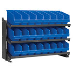 Akro-Mils 250 lb Blue Gray Steel 16 ga Fixed Rack - 36 3/4 in Overall Length - 24 Bins - Bins Included - APRBENCH040 BLUE