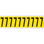Brady 34 Series 3440-7 Black on Yellow Vinyl Cloth Number Label - Indoor - 7/8 in Width - 2 1/4 in Height - 1 15/16 in Character Height - B-498