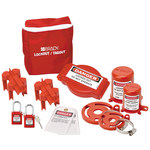 Brady White on Red Nylon Lockout/Tagout Kit - 3 in Depth - 8 in Height - 754476-99680