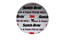 3M Scotch-Brite DP-UW Unitized Ceramic Medium Deburr and Finish PRO Deburring Wheel - Medium Grade - Arbor Attachment - 3 in Diameter - 1/4 in Center Hole - 1/2 in Thickness - 65007