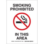 Brady B-555 Aluminum Rectangle White No Smoking Sign - 7 in Width x 10 in Height - 123903