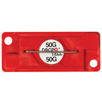 Red 50G Drop-N-Tell Indicators - 7/8 in x 2 in x 1/4 in - SHP-8349