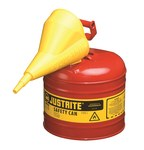 Justrite Red Steel 2 gal Safety Can - 13 3/4 in Height - 9 1/2 in Overall Diameter - 7120110