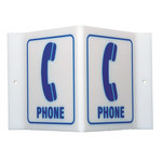 Brady Acrylic V Shape White Phone Location Sign - 9 in Width x 6 in Height - 49389