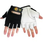 Global Glove Hot Rod AV2000 Black/White Large Goatskin Leather Mechanic's Gloves - AV2000/LG