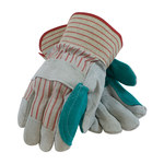 PIP 85-7512J Gray/Green/Red Large Split Cowhide Leather Work Gloves - Wing Thumb - 10.2 in Length