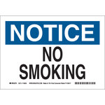 Brady B-586 Paper Rectangle White No Smoking Sign - 10 in Width x 7 in Height - 116024