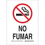 Brady B-302 Polyester Rectangle White No Smoking Sign - 7 in Width x 10 in Height - Language Spanish - 37743