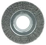 Weiler Steel Wheel Brush 0.014 in Bristle Diameter - Arbor Attachment - 6 in Outside Diameter - 2 in Center Hole Size - 06080