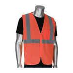 PIP 302-V100 Orange Large/XL Polyester Mesh High-Visibility Vest - 1 Pockets - Fits 52 in Chest - 28 in Length - 616314-22054