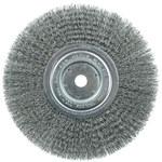Weiler Steel Wheel Brush 0.0118 in Bristle Diameter - Arbor Attachment - 8 in Outside Diameter - 5/8 in Center Hole Size - 01165