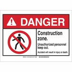 Brady B-120 Fiberglass Rectangle White Road Construction Sign - 14 in Width x 10 in Height - 143872