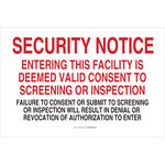 Brady B-555 Aluminum Rectangle White Admittance Sign - 36 in Width x 24 in Height - 123480