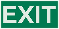 Brady Bradyglo B-324 Polyester Film Rectangle Green Exit Sign - 6 in Width x 3 in Height - Glow in the Dark - 59329