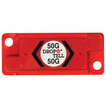 Red 50G Resettable Drop-N-Tell Indicators - 7/8 in x 2 in x 1/4 in - SHP-8355