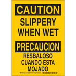 Brady B-555 Aluminum Rectangle Yellow Fall Prevention Sign - 7 in Width x 10 in Height - Language English / Spanish - 125451