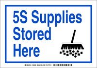 Brady B-302 Polyester Rectangle White 5S Sign - 7 in Width x 10 in Height - Laminated - 122287