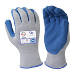 Armor Guys Duty GP 06-019 Gray/Blue Large Cotton/Polyester Work Gloves - ENN 388 Level 2 Cut Resistance - Latex Palm & Fingers Coating - 9.8 in Length - Rough Finish - 06-019-L