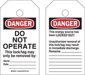 Brady RipTag 150503 Black / Red on White Polyester Lockout / Tagout Tag - 3 in Width - 5 3/4 in Height - B-851