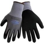Global Glove Tsunami Grip 500NFT Gray/Black Large Nylon Work Gloves - Nitrile Palm & Fingers Coating - 500NFT/LG