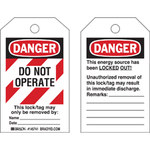 Brady Toughwash 145767 White / Black / Red Plastic Lockout / Tagout Tag - 3 in Width - 5 in Height - B-869