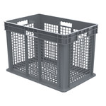 Akro-Mils 11.07 gal Gray Industrial Grade Polymer Straight Wall Container - 23 3/4 in Length - 15 3/4 in Width - 16 1/8 in Height - Mesh Side Wall - 150 lb 45 lb Stacked Capacity - 37616 GREY