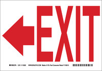 Brady B-401 High Impact Polystyrene Rectangle White Exit Sign - 10 in Width x 7 in Height - 22457