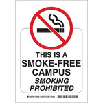 Brady B-555 Aluminum Rectangle White No Smoking Sign - 7 in Width x 10 in Height - 123933