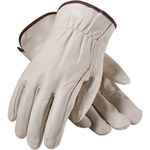 PIP 68-118 White Large Grain Cowhide Leather Driver's Gloves - Straight Thumb - 9.8 in Length - 68-118/L