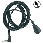 Desco Wrist Strap Single Conductor Coiled ESD Grounding Cord - 6 ft Length - 4 mm Snap - 91095