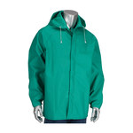 PIP ChemFR 205-420JH Green Large Nylon/PVC Chemical-Resistant Jacket - Attached Hood - 616314-19361