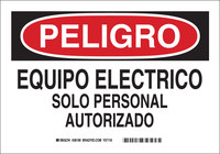 Brady B-555 Aluminum Rectangle White Electrical Safety Sign - 10 in Width x 7 in Height - Language Spanish - 38199