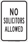 Brady B-555 Aluminum Rectangle White Soliciting Sign - 12 in Width x 18 in Height - 129474