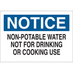 Brady B-555 Aluminum Rectangle White Water Sanitation Sign - 10 in Width x 7 in Height - 40927