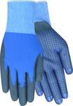 Red Steer 306 Black/Blue Large Nylon Work Gloves - Nitrile/PVC Dotted Palm & Fingers Coating - Rough Finish - 306-L