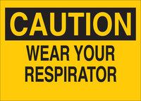 Brady B-302 Polyester Rectangle Yellow Respirator Sign - 10 in Width x 7 in Height - Laminated - 88585