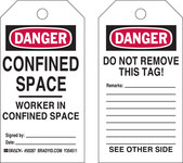 Brady 50287 Black / Red on White Polyester / Paper Worker in Confined Space Confined Space Tag - 3 in Width - 5 3/4 in Height - B-837