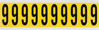 Brady 34 Series 3440-6 Black on Yellow Vinyl Cloth Number Label - Indoor - 7/8 in Width - 2 1/4 in Height - 1 15/16 in Character Height - B-498