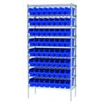 Akro-Mils Shelfmax 2000 lb Adjustable Blue Chrome Steel Open Adjustable Fixed Shelving System - 64 Bins - 2000 lb Total Capacity - AWS183630048 BLUE