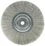 Weiler Stainless Steel Wheel Brush 0.0118 in Bristle Diameter - Arbor Attachment - 8 in Outside Diameter - 5/8 in Center Hole Size - 01805