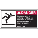 Brady 96158 Red / White on Black Polyester Equipment Safety Label - 5 in Width - 2 1/2 in Height - B-302
