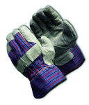 PIP 85-7500S Black/Blue/Gray/Red Large Split Cowhide Leather Work Gloves - Wing Thumb - 10.2 in Length