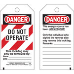 Brady 65452 Black / Red on White Cardstock Lockout / Tagout Tag - 3 in Width - 5 3/4 in Height - B-853