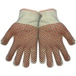 Global Glove 4195NB2 Gray/Red Large Cotton Work Gloves - Nitrile Palm Only Coating - 4195NB2/LG