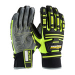 PIP Maximum Safety Roustabout 120-5250 Black/Gray/Yellow Large Synthetic Kevlar/Synthetic Leather/Spandex Work Gloves - TPR Palm & Fingers Coating - 10.5 in Length - 120-5250/L