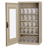 Akro-Mils Akrodrawers 350 lb Putty Steel 18 ga Non-Stackable Secure Mini-Cabinet - 13 1/4 in Overall Length - 19 1/4 in Width - 38 in Height - 16 Drawer - Lockable - ACQV4P42 CLEAR