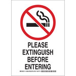 Brady B-555 Aluminum Rectangle White No Smoking Sign - 7 in Width x 10 in Height - 128052