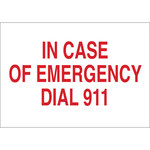 Brady B-401 Polystyrene Rectangle White Emergency 911 Sign - 10 in Width x 7 in Height - 22678
