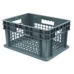 Akro-Mils 5.12 gal Gray Industrial Grade Polymer Straight Wall Container - 15 3/4 in Length - 11 3/4 in Width - 8 1/4 in Height - Mesh Side Wall - 83 lb 30 lb Stacked Capacity - 37208 GREY
