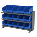 Akro-Mils 250 lb Blue Gray Steel 16 ga Fixed Rack - 36 3/4 in Overall Length - 15 Bins - Bins Included - APRBENCH090 BLUE